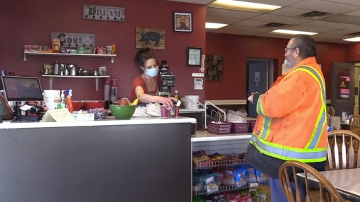 Crystal Blair is keeping her truck stop open despite the pandemic in order to make sure she can keep serving truckers. (Todd Battis / CTV )