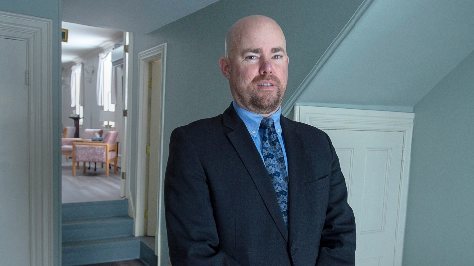 Alan MacLeod Jr., a funeral director at his family-owned Ettinger Funeral Home in Shubenacadie, N.S. is seen on Friday, March 27, 2020. (THE CANADIAN PRESS / Andrew Vaughan)