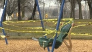 Caution tape surrounds a playground in London, Ont. amid COVID-19 fears on March 28, 2020. (Jordyn Read/CTV London)