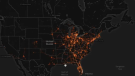 A heat map showing data collected from active location-enabled smartphones from a beach in Fort Lauderdale, Fla., during spring break in March 2020 gathered by U.S. data analytics firms Tectonix and X-Mode Social to show the impact ignoring physical distancing can have on the spread of a virus during a global health pandemic. (Source: Tectonix)