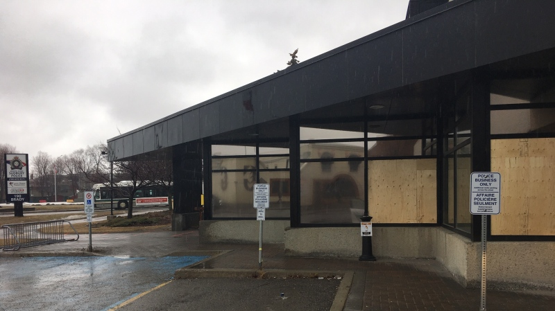 One male is in custody after smashing several windows at Sudbury Police Headquarters. March 29/2020 (Molly Frommer/CTV News Northern Ontario)