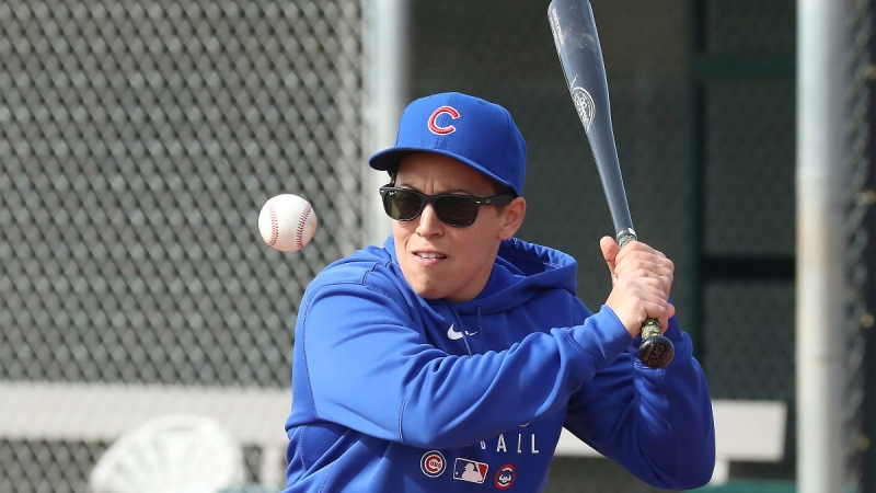 Chicago Cubs minor league hitting coach Rachel Folden hits infield ground balls at the Cubs spring trainng facility in Mesa, Ariz., Feb. 5, 2020. (John Antonoff/Chicago Sun-Times via AP)
