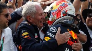 Red Bull driver Max Verstappen, right, celebrates with Helmut Marko during the Brazilian Formula One Grand Prix on Nov. 17, 2019. (Nelson Antoine / AP)