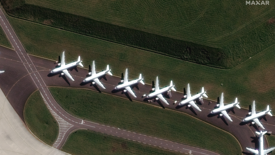 Parked planes are pictured at the Charles de Gaulle Airport in France. (Photo: Maxar)