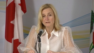 Dr. Heather Morrison, P.E.I.'s chief public health officer, provides an update on COVID-19 during a news conference on March 30, 2020.