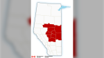 Environment Canada was predicting between 10 and 20 centimetres of snow in central and northern Alberta regions on March 30. (Source: Environment Canada)
