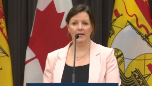 Dr. Jennifer Russell, New Brunswick's chief medical officer of health, provides an update on COVID-19 during a news conference on March 30, 2020.