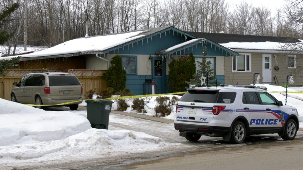 Officers at the scene in the 300 block of MacArthur Drive in Prince Albert on March 30, 2020. (Lisa Risom/CTV Prince Albert)