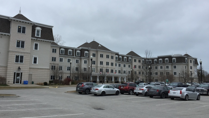 Landmark Village, a retirement community that has seen COVID-19 deaths, is seen in Sarnia, Ont. on Monday, March 30, 2020. (Bryan Bicknell / CTV London)