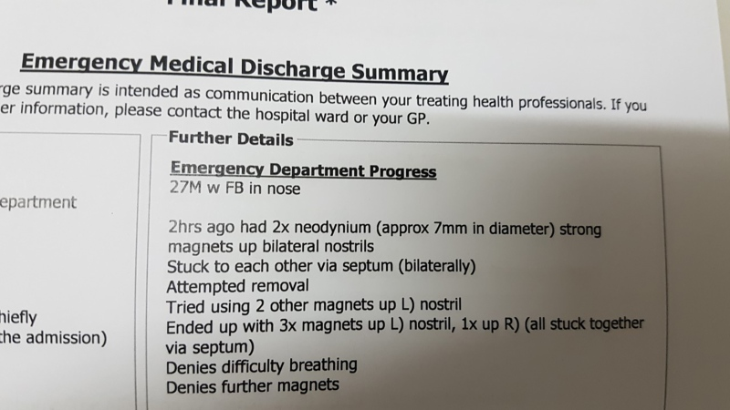 Medical staff wrote a lengthy description of Reardon's predicament. (Courtesy of CNN/Daniel Reardon)