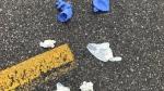 Disposable gloves litter parking lot