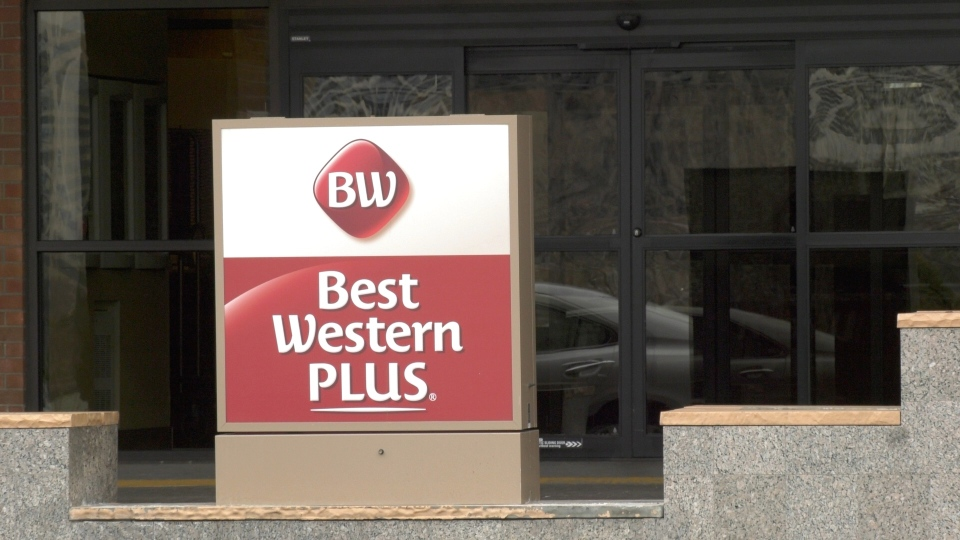 Windsor Regional Hospital health care workers will be offered one of 40 rooms at the Best Western Plus Hotel in Windsor, Ont. to help self-isolate from family as part of efforts to limit the spread of COVID-19. Photo taken Monday, March 30, 2020. (Ricardo Veneza / CTV Windsor)