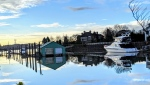 Reflections on an arm of the Fraser River at Deering Island captured by Weather Watch by CTV Vancouver app user Marian Cohen.