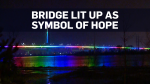 The Samuel-De Champlain Bridge in Montreal was lit up Sunday night as an act of solidarity and a message of hope amid the COVID-19 pandemic.