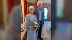 Roy McLaren and Barb Linaker were married Thursday. The couple, who call Pilot Mound, Man. home, broadcast the wedding for their family on the web conferencing app Zoom. (Source:Ray and Dawn McLaren)