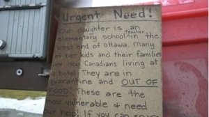 A Gloucester family solicited donations to help families living in Ottawa hotels.
