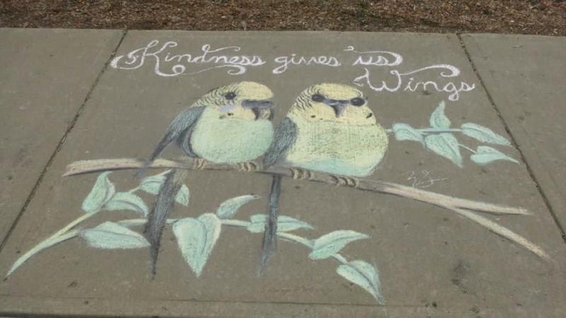 Sidewalk art is shown in Regina amid the COVID-19 pandemic.