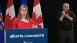 Dr. Deena Hinshaw announced five additional deaths linked to COVID-19 in the province on Monday.