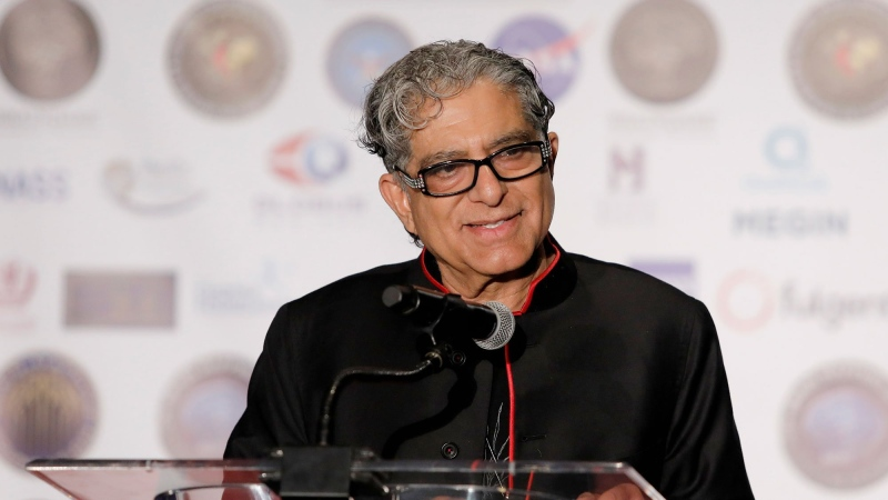 Chopra's global event was set to begin at 12 p.m. ET and meant to connect people's energy to heal the world at a time when we need it most, the event description says. (Tibrina Hobson via Getty Images for Brain Mapping Foundation)