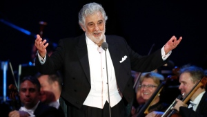 Placido Domingo salutes spectators at the end of a concert in Szeged, Hungary, on Aug. 28, 2019. (Laszlo Balogh / AP)