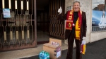Elderly Romans who are fans of AS Roma are getting boxes of food and medical supplies from the club. (Courtesy AS Roma)