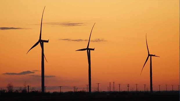 Wind turbines near Plum Coulee, Manitoba. Photo by Monica Trach.