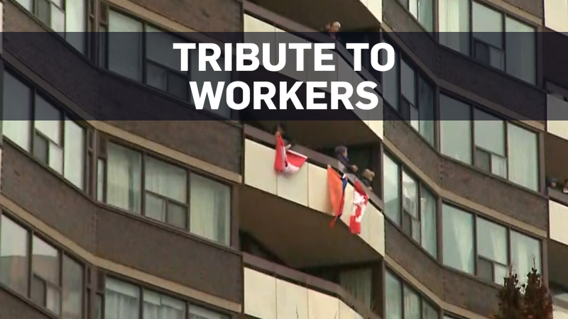 Canadians are coming together to show solidarity with health-care and essential workers in many tribute displays.