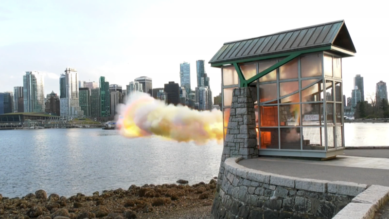 The 9 O'Clock Gun is shown in Stanley Park on Monday, March 30, 2020.