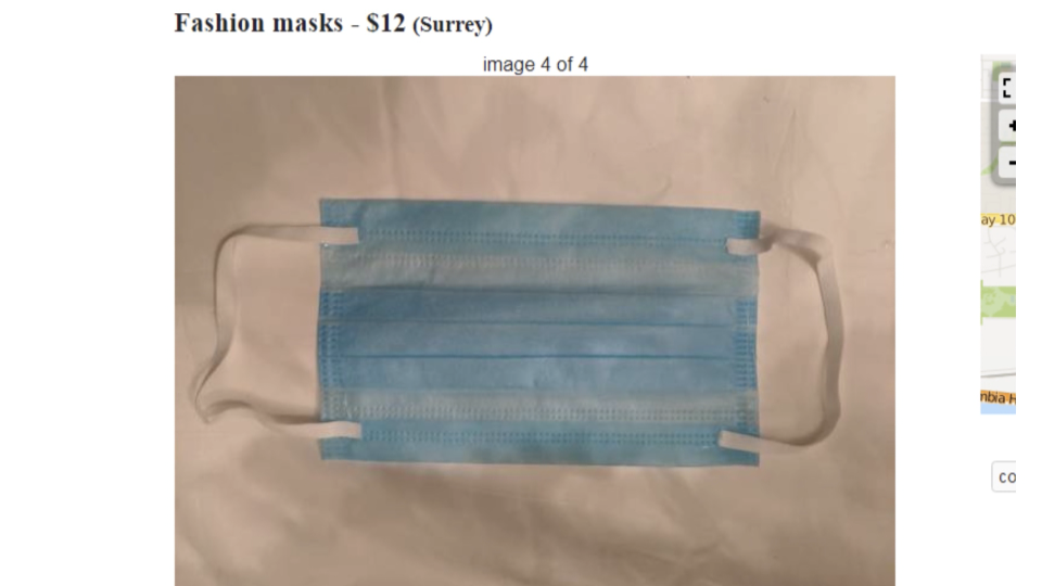 A 'fashion mask' is shown in a listing on Craigslist in Surrey, B.C.