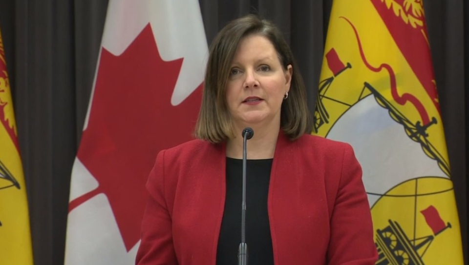 Dr. Jennifer Russell, New Brunswick's chief medical officer of health, provides an update on COVID-19 during a news conference on March 31, 2020.