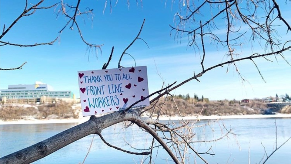 Ashley Lafontaine has been writing positive messages on note cards and leaving them around the city.
