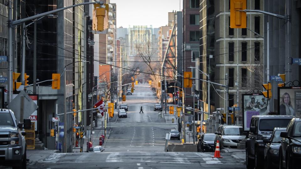 Deserted Metcalfe Street in downtown Ottawa