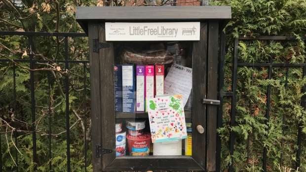 A family decided to transform their curbside library into a pantry amid the COVID-19 pandemic. (Ted Brooks/CTV News Toronto)