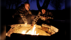 couple at a fire pit