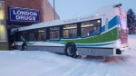 A Strathcona County transit bus crashed into a London Drugs in Sherwood Park after a collision with a truck. Tuesday March 31, 2020 (Strathcona County RCMP)