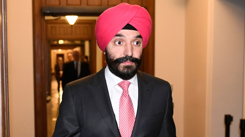 Minister of Innovation, Science and Industry Navdeep Bains arrives for a press conference on COVID-19 in West Block on Parliament Hill in Ottawa, on Friday, March 20, 2020. THE CANADIAN PRESS/Justin Tang