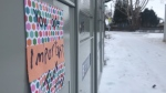 An encouraging note left in St. Albert with the aim of spreading cheer during the COVID-19 pandemic. Tuesday March 31, 2020 (CTV News Edmonton)
