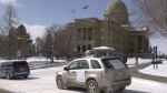 Drive-by protest at the Alberta Legislature. Tuesday March 31, 2020 (Dave Mitchell/CTV News Edmonton)