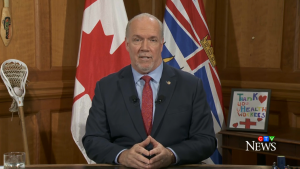 B.C. Premier John Horgan addresses the province on the COVID-19 pandemic from Victoria on March 30, 2020.