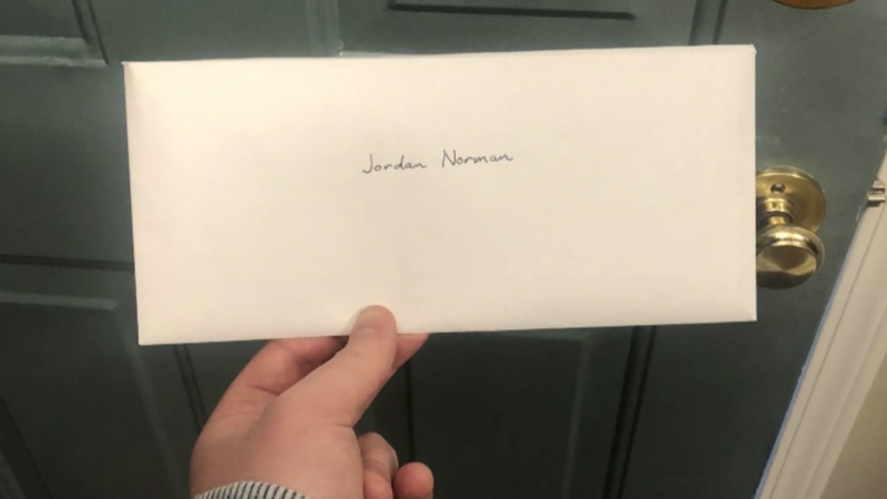 A letter to Jordan Norman from his neighbour and pen pal. (Jordan Norman)