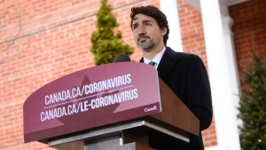 Prime Minister Justin Trudeau addresses Canadians on the COVID-19 pandemic from Rideau Cottage in Ottawa on Tuesday, March 31, 2020. THE CANADIAN PRESS/Sean Kilpatrick