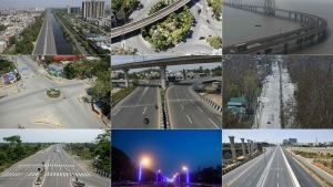 These pictures taken on March 25 show deserted streets across India. The top row, from left to right, shows Ghaziabad, New Delhi, Mumbai. The middle row, left to right, is Allahabad, Chennai, Kashmir. The bottom row, left to right, depicts Siliguri, Kolkata, and Bangalore. (Staff AFP/Getty Images)