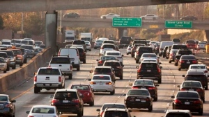 FILE - This Dec. 12, 2018, file photo shows traffic on the Hollywood Freeway in Los Angeles. (AP Photo/Damian Dovarganes, File)