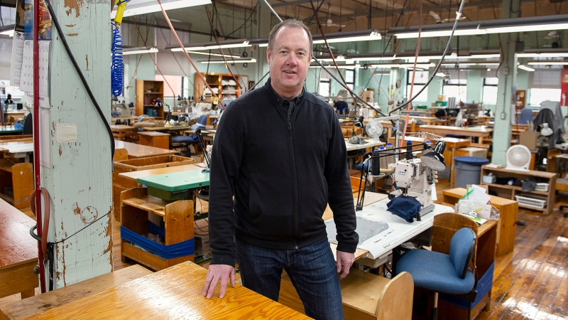 Jon Stanfield, president and CEO of Stanfield's Ltd., stands in one of the production areas of the garment manufacturing company in Truro, N.S. on Tuesday, March 31, 2020.  (THE CANADIAN PRESS/Andrew Vaughan)