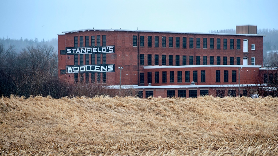 Part of Stanfield's Ltd., a Canadian garment manufacturing company which has been in operation since 1856, is seen in Truro, N.S. on Tuesday, March 31, 2020.  (THE CANADIAN PRESS/Andrew VaughanTHE CANADIAN PRESS/Andrew Vaughan)