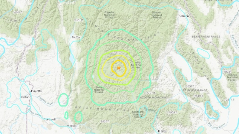Data from the United States Geological Survey shows the epicentre of Idaho's earthquake on March 31, 2020. (USGS)