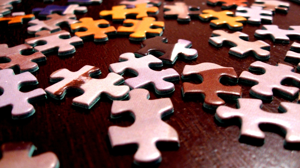 Various puzzle pieces lay scattered on a table.