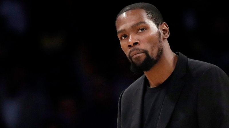 Brooklyn Nets' Kevin Durant  in Los Angeles, on March 10, 2020. (Marcio Jose Sanchez / AP)