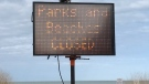 A sign at the main beach in Grand Bend, Ont. shows the are is closed on Wednesday, April 1, 2020. (Sean Irvine / CTV London)
