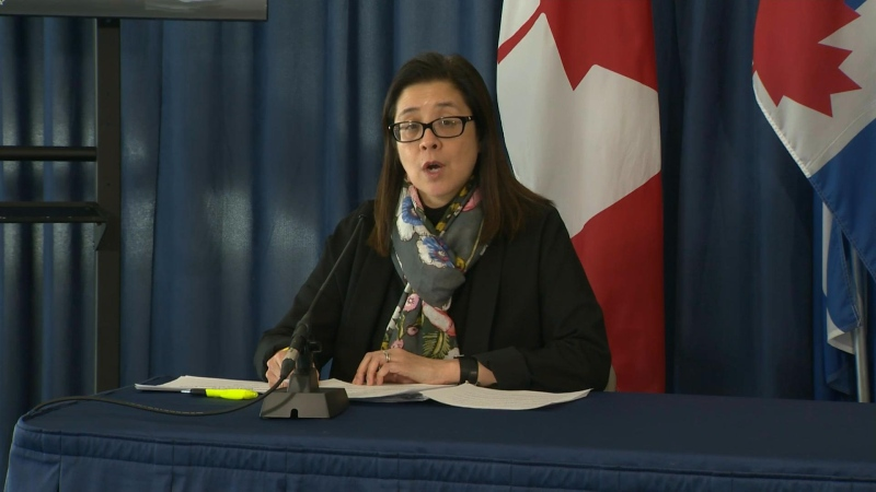 Toronto's Medical Officer of Health Dr. Eileen de Villa is shown at a news conference on April 1.
